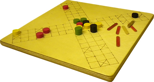 A hand-made wooden pachisi set.