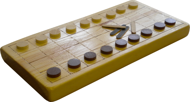 A modern tâb set ready for play.