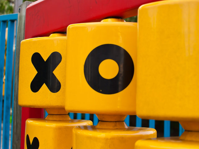 Noughts and crosses in a children's playground.