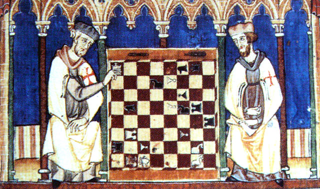 Knights Templar playing chess.