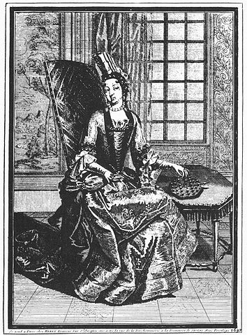Princess Soubise playing solitaire, 1687.