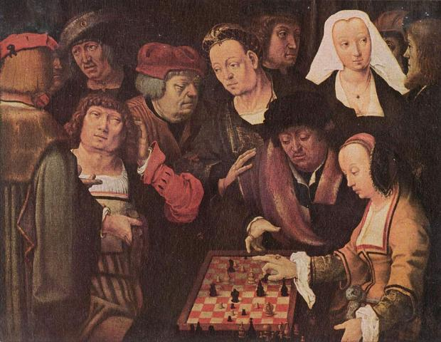 The Chess Players, by Lucas van Leyden, shows a game of courier chess.
