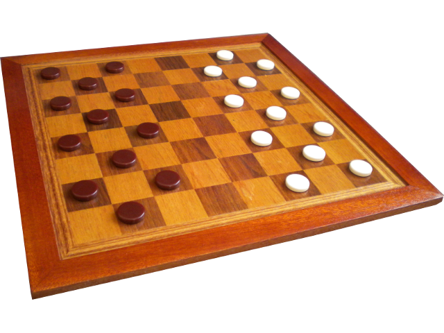 A traditional-style draughts board, set out for play.