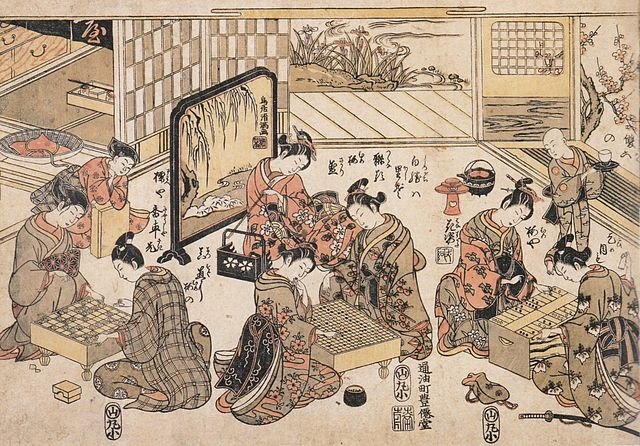 The japanese games of (from left to right) shogi, go and sugoroku, c.1780.
