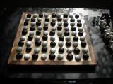 A mock up for konane using a hnefatafl board and black/white pieces.